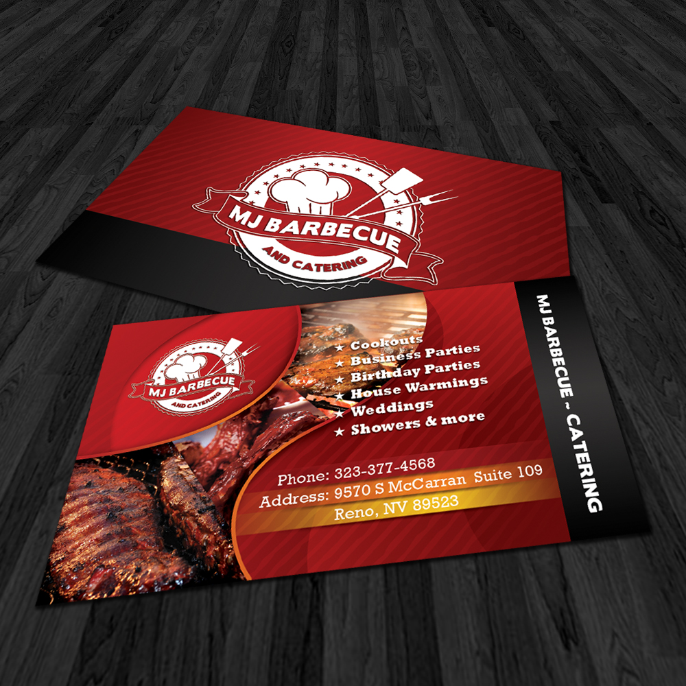 Mj bbq catering for Bbq catering business cards